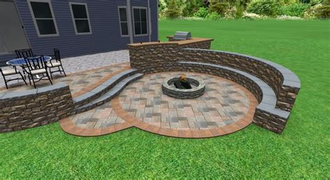 patio design with sunken fire pit sitting wall with