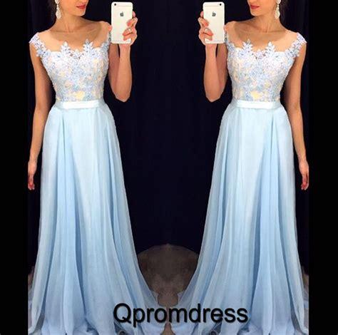Cute ice blue chiffon floor length applique sweetheart A line formal prom dress