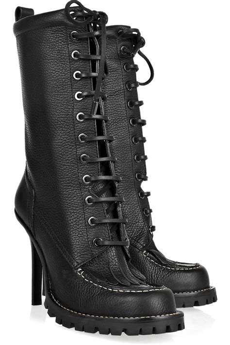 Tory Burch Lace-up Leather Calf-length Boots in Black - Lyst