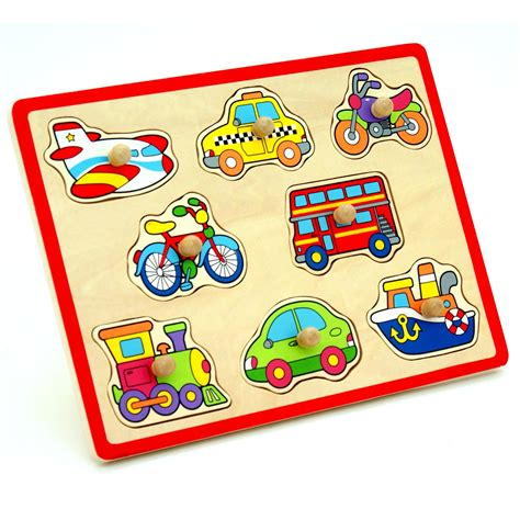 Childrens Pull Out by Wooden Vehicles Childrens Chunky Jigsaw 1st Peg Pull