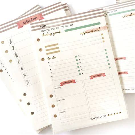 Schedule Inserts A5 A6 findingnana shop new a6 planner inserts