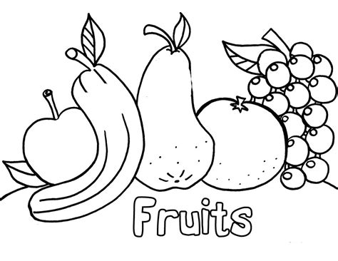 Fruits And Vegetables Coloring Page Coloring Pages Of Fresh Fruit And Vegetables Learn To