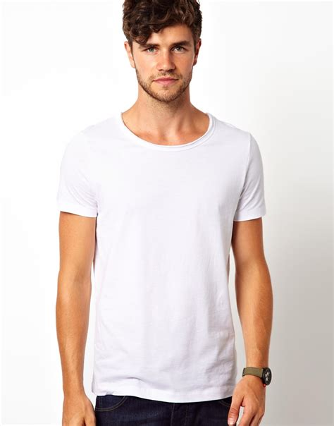 T Shirt Dili White asos asos tshirt with edge scoop neck in white for lyst