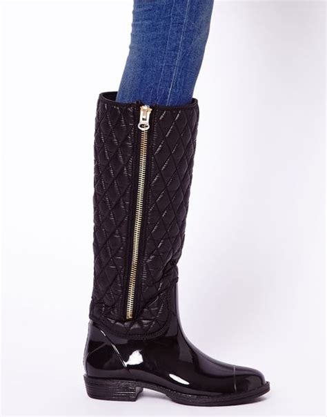 Quilted Wellington Boots river island quilted wellington boots in black lyst
