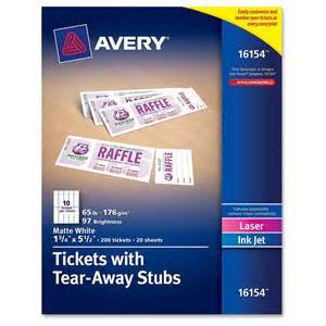 avery 16154 tickets with tear away stubs 16154 matte