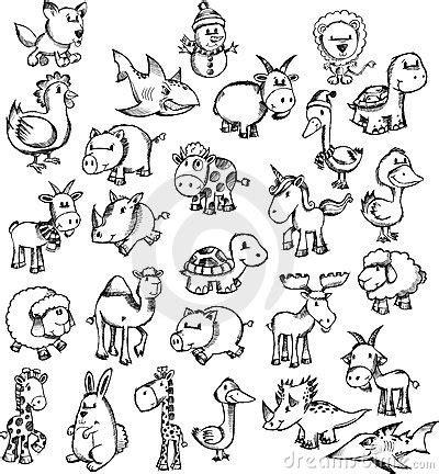doodle animals vector free sketch doodle animal set royalty free stock photos