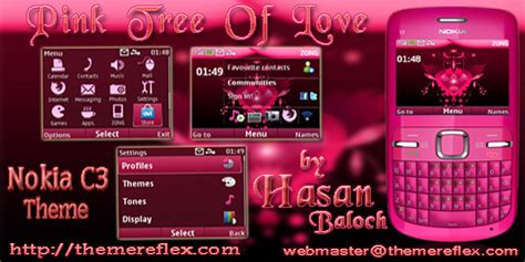 romantic themes for nokia c3 pink tree of love nokia c3 x2 01 themereflex