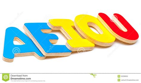 imagenes o videos aeiou five letters of the alphabet stock image image