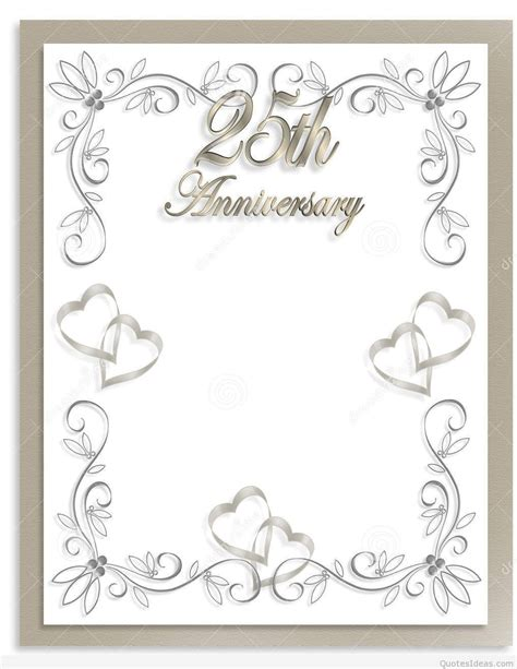 minimal wedding anniversary cards templates free 25th wedding anniversary invitations free silver