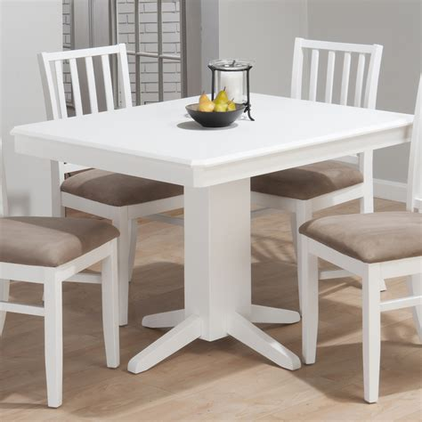 jofran aspen rectangle pedestal dining table in white beyond stores