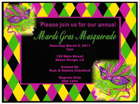 mardi gras invitations templates appealing mardi gras masquerade invitation card template
