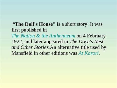 katherine mansfield the doll s house dolls house short story by katherine mansfield baby dolls ideas