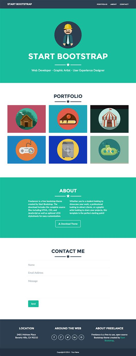 Free One Page Website Html Templates Smashing Buzz Website Template Like Freelancer