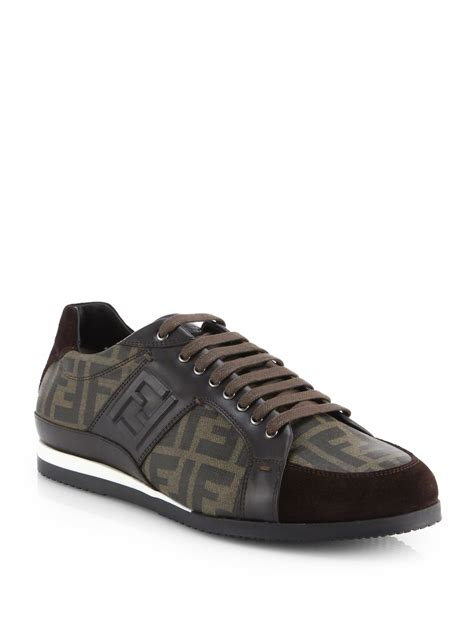 fendi sneakers fendi zucca laceup sneakers in brown for tobacco lyst