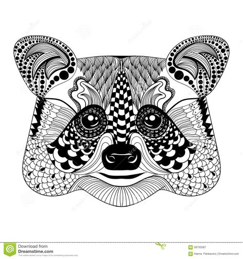 zentangle stylized black raccoon face hand drawn doodle