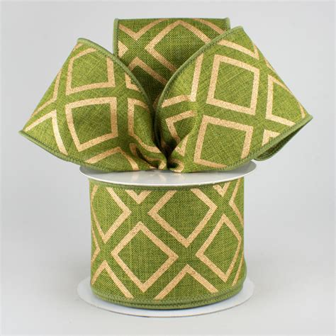 Square Ribbon 2 5 quot metallic squares ribbon moss green gold 10 yards