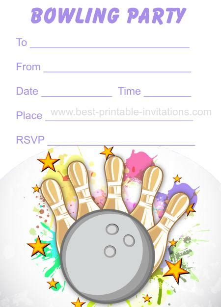 free bowling birthday invitation card template bowling invitations free printable birthday