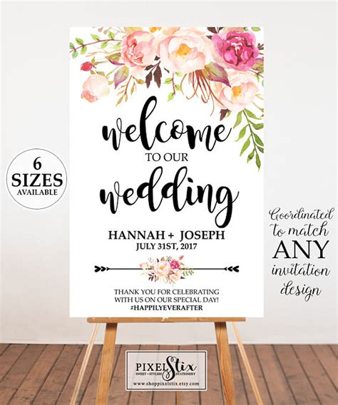 printable welcome poster watercolor floral wedding welcome poster wedding welcome