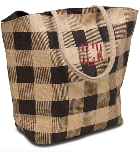 Custom Initial Name Bag Collection Monogram Checkered Tote Bag Personalized