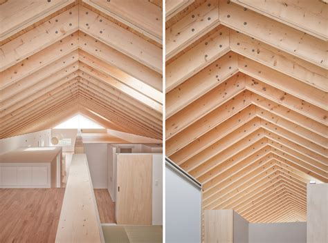 exposed rafter ceiling house with exposed timber rafters and bookshelf columns