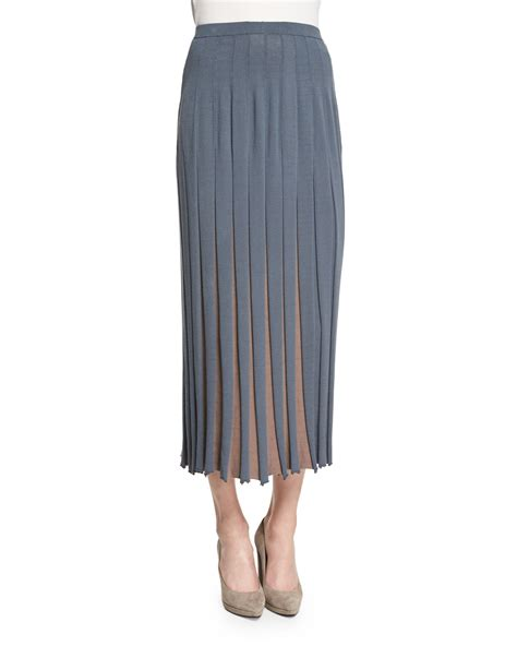 lafayette 148 new york bicolor pleated midi skirt in gray