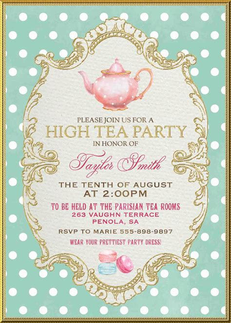 High Tea Baby Shower Invitation Templates by Tea Invitation High Tea Bridal Shower By