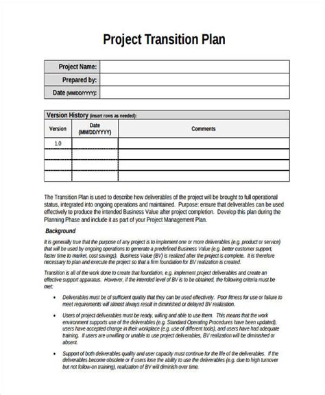 transition plan examples samples   word pages examples