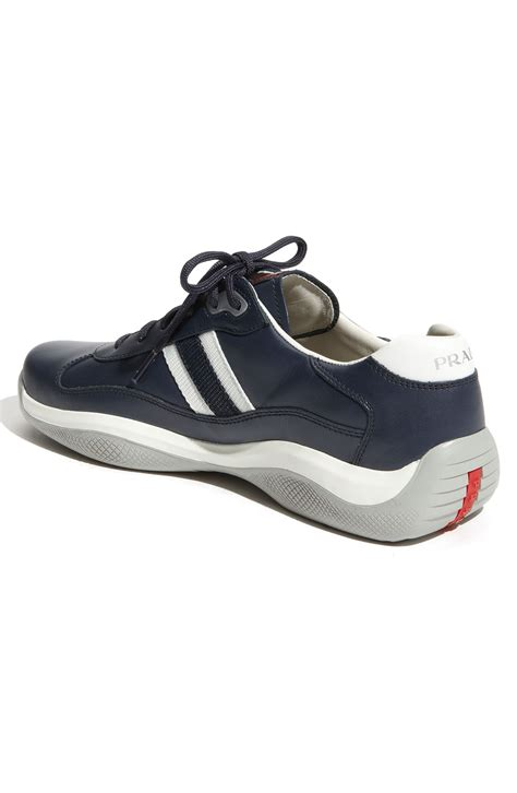 prada shoes for prada leather lace up sneakers in blue for lyst
