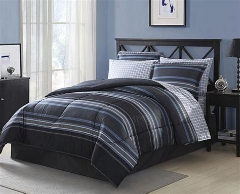black full size comforter set black grey white blue striped plaid 8 piece comforter
