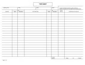 truck drivers trip sheet template 7 best images of free printable trip sheets driver trip