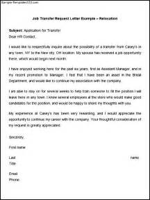Cover Letter For Transfer by Sle Request Letter For Transfer Of Position Cover