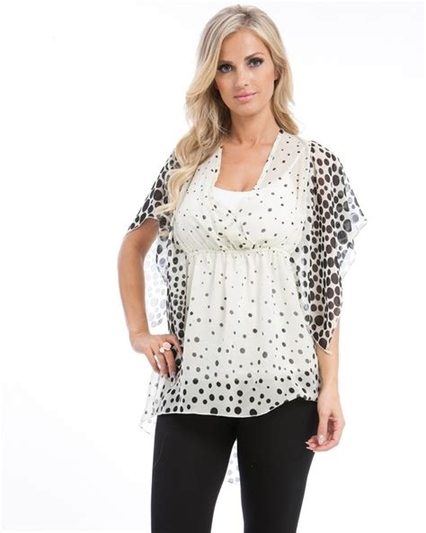 Memdalet S Black Polkadot Flutter Sleeve White Ivory And Black Polka Dot Flutter Sleeve