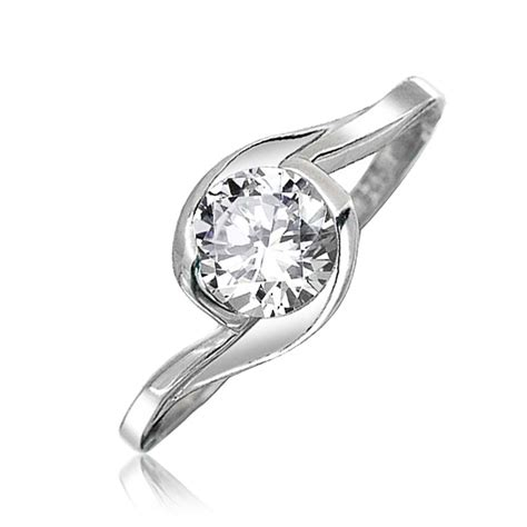 sterling silver bezel set solitaire cz twist engagement ring