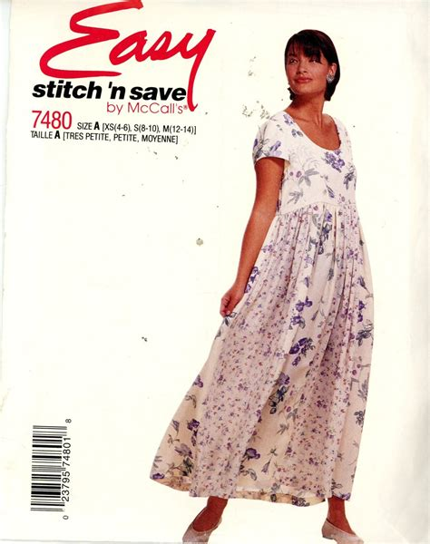 sewing pattern empire line dress mccall s 7480 easy misses empire waist dress sizes 4 6 8