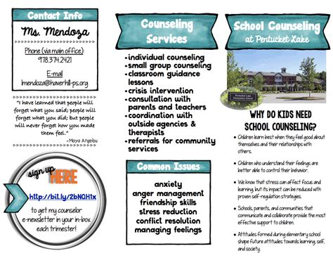 Counseling Brochure Template by School Counseling Brochure For Parents The School