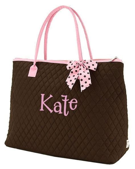 monogrammed diaper bag pc quilted brown pink