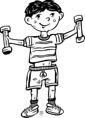 imagenes niños haciendo deporte para colorear dibujo de ni 241 o haciendo ejercicio para colorear dibujos