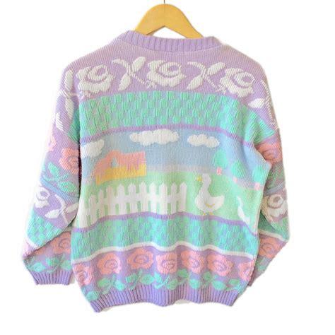 Sale 7365 Sweater Blue Unicorn vintage 80s farm pastel sparkle tacky sweater