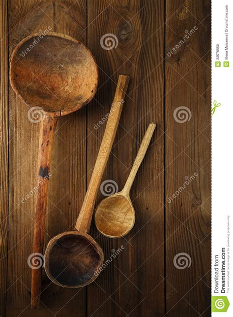 Retro Kitchen Utensils Wood Spoon On Old Wooden Table In Rustic Stock Photo   Image: 33570550