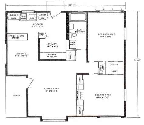 House Plans Blueprints by Lustron Floor Plan Bluff View House