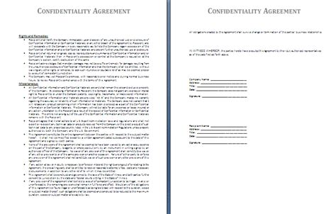 Confidentiality Agreement Template Free Agreement And Contract Templates Confidentiality Agreement Template