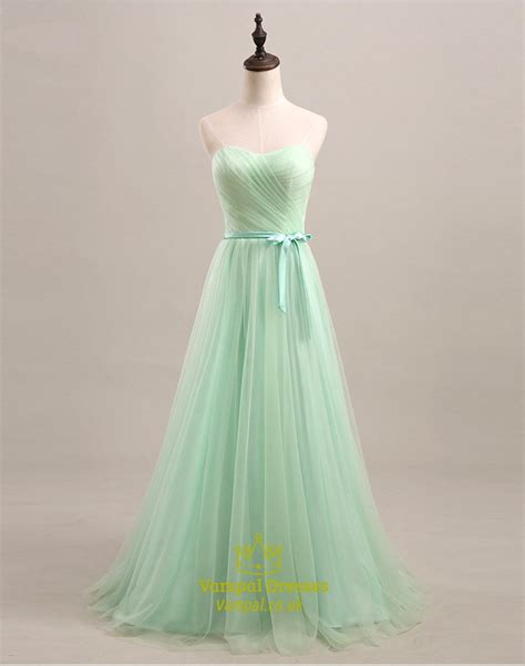 light green long dress light green strapless sweetheart a line tulle long