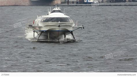 hydrofoil boat russia meteor hydrofoil boat on neva river in st peter stock