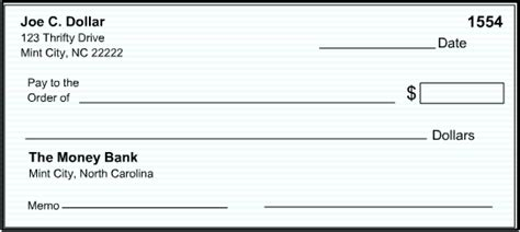 Money Basics Managing A Checking Account Printable Blank Check Template