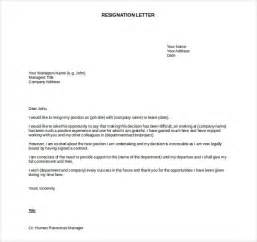 Template Resignation Letter Exle by Resignation Letter 187 Form Of Resignation Letter Free