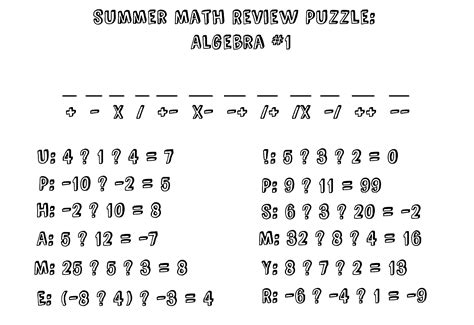 printable algebra puzzle worksheet algebra puzzle worksheets hunterhq free
