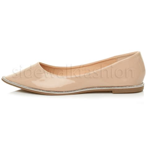 flat toed shoes womens flat pointed toe diamante trim mesh