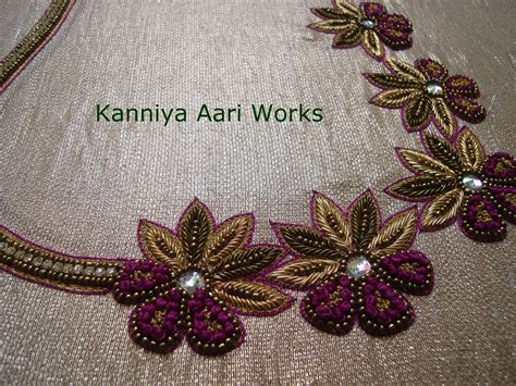 work pattern in french zardosi work and french knot done for a blouse by kanniya
