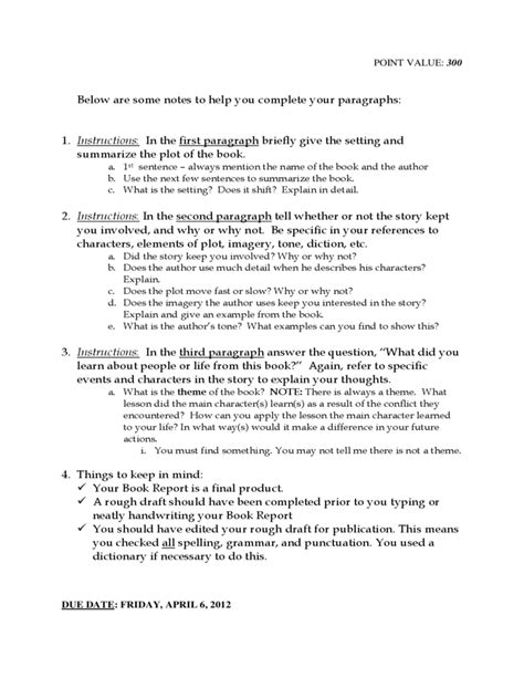 book report exles 9th grade free sle college admission 10th grade book report form