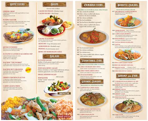 El Patio Ponca City Menu by El Patio Restaurant Menu Icamblog